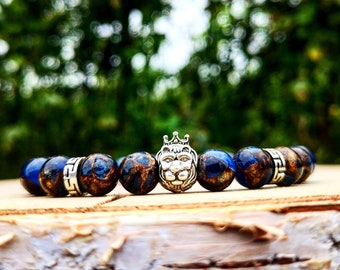 Lion bracelet for men - Lion head bracelet - Leo bracelet - Stretch bracelet men and women - Beaded lion bracelet - Bracelet gift
