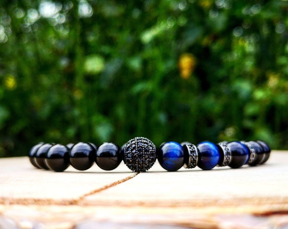 Bracelet for men, Luxury bracelet for men, Bracelet for him, Gift for him, Men's gift, Luxury bracelet, Blue bracelet, Black bracelet