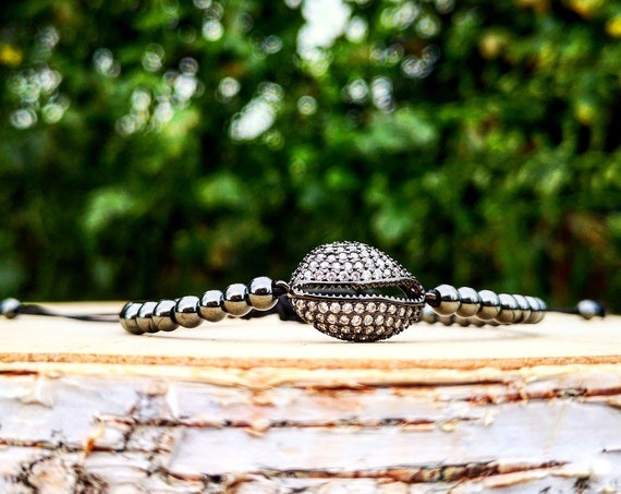 Black shell luxury shamballa bracelet for her, Beaded shamballa, Gift bracelet, Gift shamballa