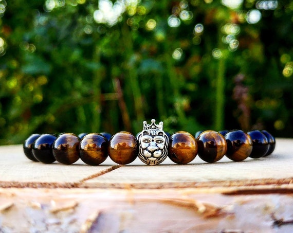 Lion bracelet, Men's bracelet, Black men bracelet, Gift for men, Tiger eye bracelet, Gift for him and her, Lion king, beaded bracelet men