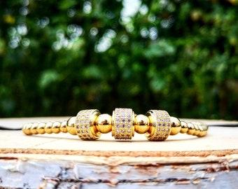 Braided luxury shamballa macrame bracelet, Golden Shamballa charm, Luxury bracelet, Luxury charm, Gift for him and her