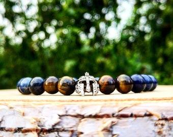 Viking beaded bracelet ,Men beaded helmet bracelet, Warrior bracelet, Gift for him, Motivation bracelet, Blue bracelet, Stretch bracelet
