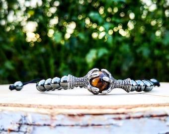 Shamballa bracelet, Shamballa grey bracelet for men and women, Tiger eye bracelet, Eagle claw bracelet, Gift bracelet for men