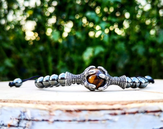 Shamballa bracelet, Shamballa grey bracelet for men and women, Tiger eye bracelet, Eagle claw bracelet, Gift bracelet for men