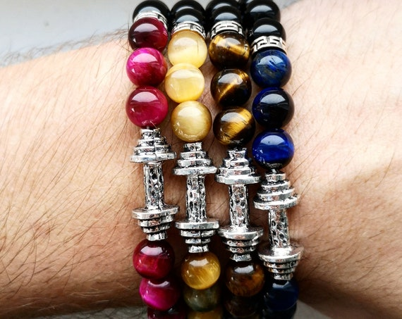 Fitness beaded bracelet, Dumbbell beaded bracelet, Bodybuilding bracelet, Bracelet for men and women, Fitness gift bracelet
