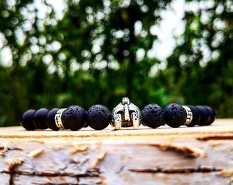 Men viking bracelet, Spartan bracelet, Gladiator bracelet, Helmet beaded bracelet, Men bracelet, Viking jewelry, Black viking bracelet