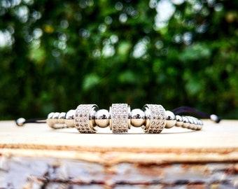 Braided luxury shamballa macrame bracelet, Shamballa charm, Luxury bracelet, Luxury charm, Gift for him and her