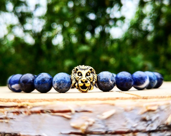 Gold lion bracelet, Men's bracelet, Men bracelet, Gift for men, Blue bracelet, Jeans bracelet, Stretch bracelet, Gift for him, Lion king