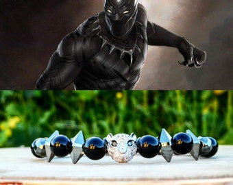 Black panther marvel beaded bracelet, Marvel gift bracelet, Marvel jewelry, Gift for him and her, Marvel birthday gift, Men's bracelet