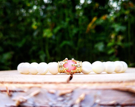 His queen bracelet, Bracelet for her, Crown bracelet, Gift bracelet for her, White bracelet, Gold crown bracelet, Pink bracelet