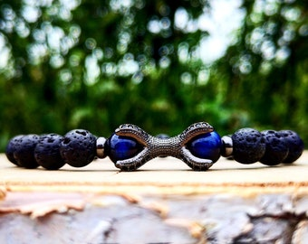 Black lava bracelet for men and women, Blue tiger eye bracelet, Gift bracelet, Men's gift, Stretch bracelet, Claw bracelet, Birthday gift