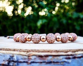 Luxury rose gold shamballa for women, Shamballa bracelet for her, Gift for women, Luxury bracelet, Luxury gift