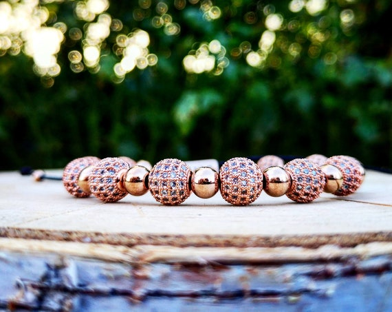 Luxury rose gold shamballa for women, Shamballa bracelet for her, Gift for women, Luxury bracelet, Luxury gift