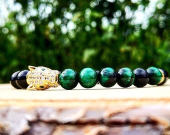 Green leopard zirconia bracelet, Luxury jewelry for men and women, Animal bracelet, Golden leopard, Gift for him and her