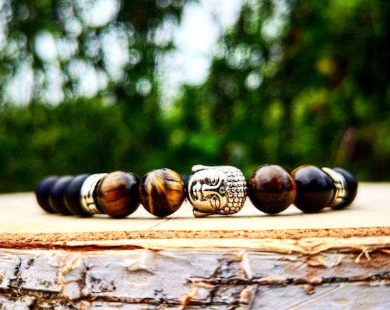 Black Buddha beaded bracelet, Tiger eye Buddha bracelet, Mens bracelet, Bracelet for him, Zen bracelet, Gift for him