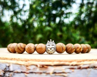 Zodiac bracelet, Leo zodiac, Leo zodiac sign, Zodiac jewelry, Zodiac sign, Lion bracelet, Mens bracelet, Zodiac gifts, Wood bracelet