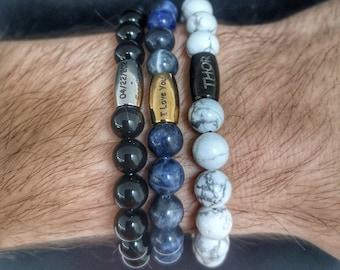 Engraved bracelet, Gift bracelet, Beaded bracelet, Name bracelet, Personalized gift, Personalized bracelet