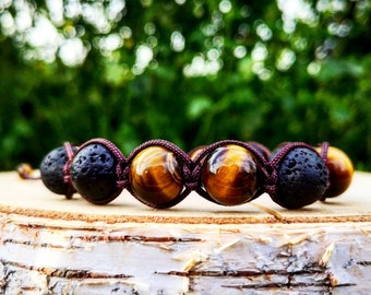 Mens shamballa bracelet, Men's braided bracelet, Gift for him, 12 mm Tiger eye beads, Lava beads, Mens jewelry