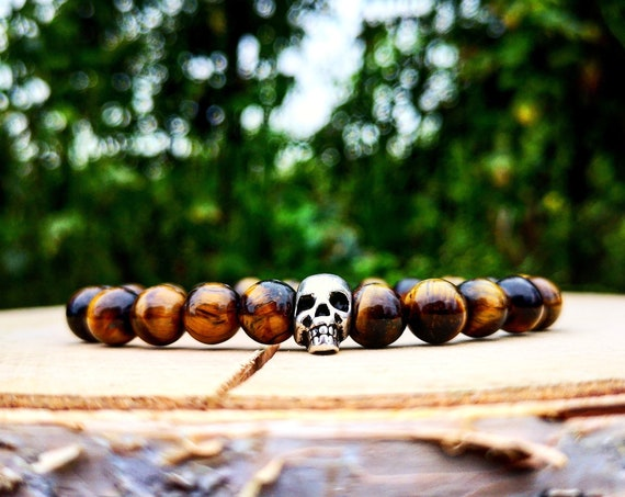 Tiger eye skull bracelet, Skeleton bracelet, Mens bracelet, Gift for men, Women bracelet, Brown bracelet, Beaded bracelet, Elastic bracelet