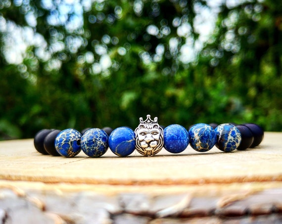 Lion bracelet for him and her - Beaded bracelet - Lion head bracelet - Bracelet for men and women - Black bracelet - Elastic bracelet