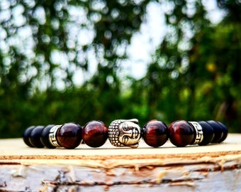 Red tiger eye buddha bracelet, Beaded men bracelet, Men's bracelet, Women bracelet, Zen bracelet, Tiger eye beads, Holiday gift, Men gift
