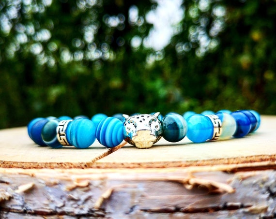 Blue leopard bracelet, Animal bracelet, Lion bracelet, Leopard beaded bracelet, Mens bracelet, Women bracelet, Beaded bracelet, Gift for men
