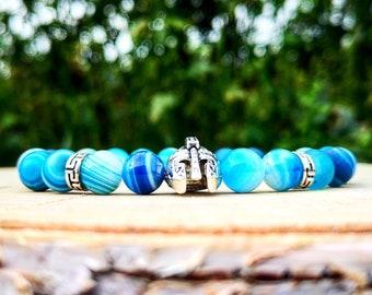 Mens viking beaded bracelet, Gents bracelet, Spartan bracelet, Men bracelet, Gladiator bracelet, Helmet bracelet, Spartan helmet