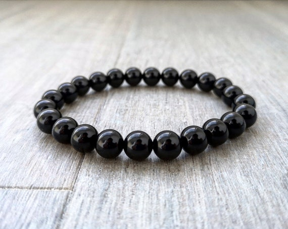 Black beaded bracelet for men and women, 8mm Black agate bracelet, Gift for him and her