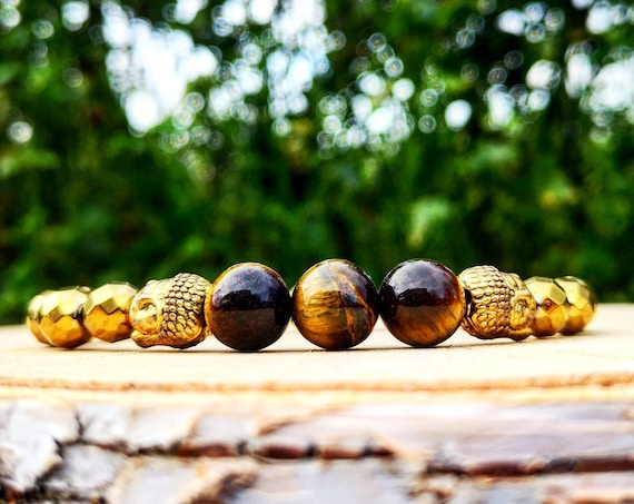 Buddha bracelet for men and women, Tiger eye bracelet, Stretch bracelet, Beaded bracelet, Gift for him and her, Holiday gift
