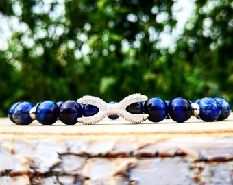 Beaded blue silver claw bracelet for men and women, Stainless steel claw with 8 mm blue tiger eye beads, 8 mm Lapis Lazuli