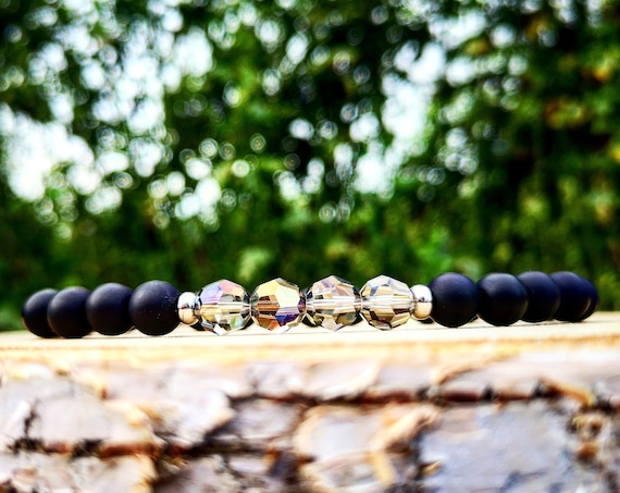 Swarovski mens bracelet, Black beaded swarovski bracelet for men and women, Gift bracelet for him and her, Stretch bracelet with swarovski