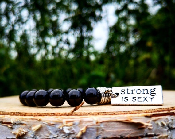 Gym bracelet, Fit bracelet, Fitness bracelet, Strong is sexy, Women bracelet, Mens bracelet, Beaded bracelet, Cross fit bracelet