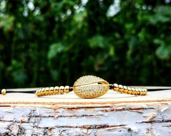 Golden shell luxury shamballa bracelet for her, Beaded shamballa, Gift bracelet, Gift shamballa