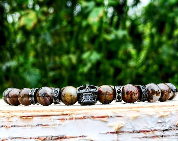 Beaded bracelet for men, Beads bracelet, Gift for men, Jewelry for men, Men's jewel, Gift bracelet, Skull bracelet, Brown beads