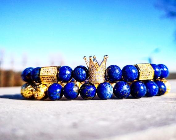 Royal blue crown combination bracelets, Lapis Lazuli bracelets, Golden lava bracelets, Luxury bracelets, Perfect gift
