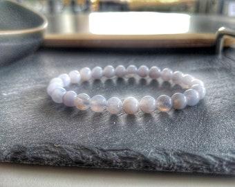Celestite bracelet, 8mm Natural Celestine Gemstone bracelet, Very Light Blue Beaded Jewelry for Men and Women