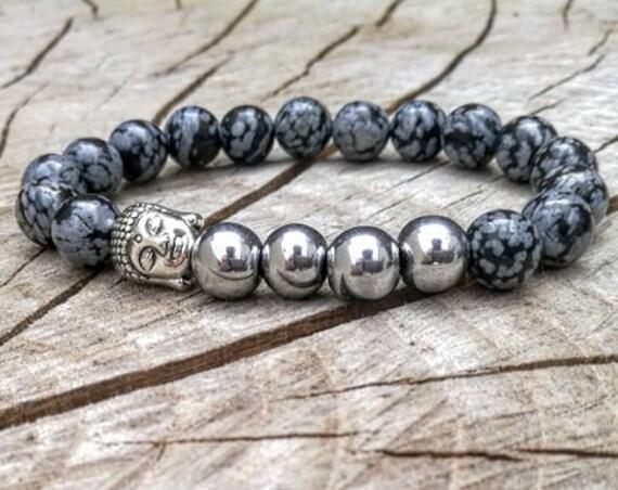 Grey buddha bracelet, Men bracelet, Men's bracelet, Women bracelet, Zen bracelet, Unisex bracelet, Beaded bracelet, Mala bracelet