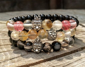 Lion beaded bracelet, Multicolor lion bracelet, Mens bracelet, Womens bracelet, Beaded bracelet, Holiday gift, Lion bracelet