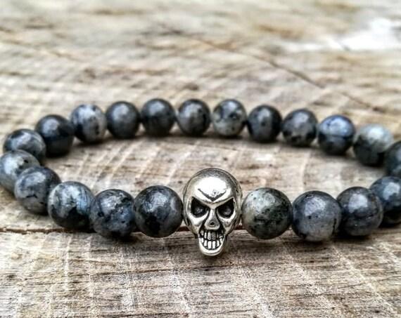 Grey skull bracelet, Skull bracelet, Beaded bracelet, Mens bracelet, Men bracelet, Women bracelet, Gentleman bracelet, Skull jewelry