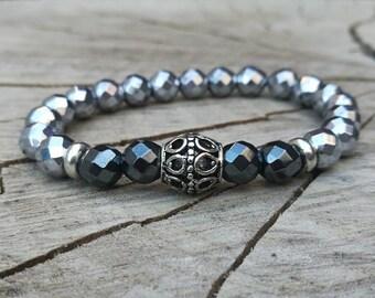 Silver plated men bracelet, Mens bracelet, Gift for men, Womens bracelet, Beaded bracelet, Watch bracelet, Zen bracelet