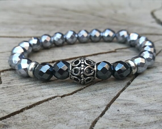 Silver plated men bracelet, Mens bracelet, Gift for men, Womens bracelet, Beaded bracelet, Watch bracelet, Zen bracelet