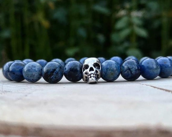 Skull bracelet for man and woman, Birthday, Gift for him and her, Blue bracelet, Beaded bracelet, Man and woman bracelet, Stretch bracelet