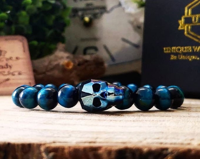 Featured listing image: Crystal skull bead bracelet, Swarovski skull, Swarovski jewel, Tiger eye bracelet, Gift for him, Gift for her, Gift ideas
