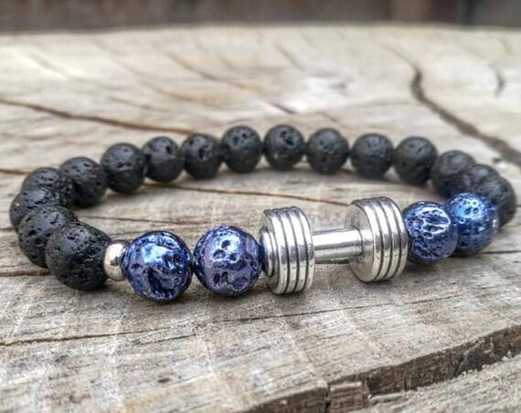 Fitness bracelet, Gym bracelet, Fit bracelet, Dumbbell bracelet, Men bracelet, Women bracelet, Beaded bracelet, Lava bracelet