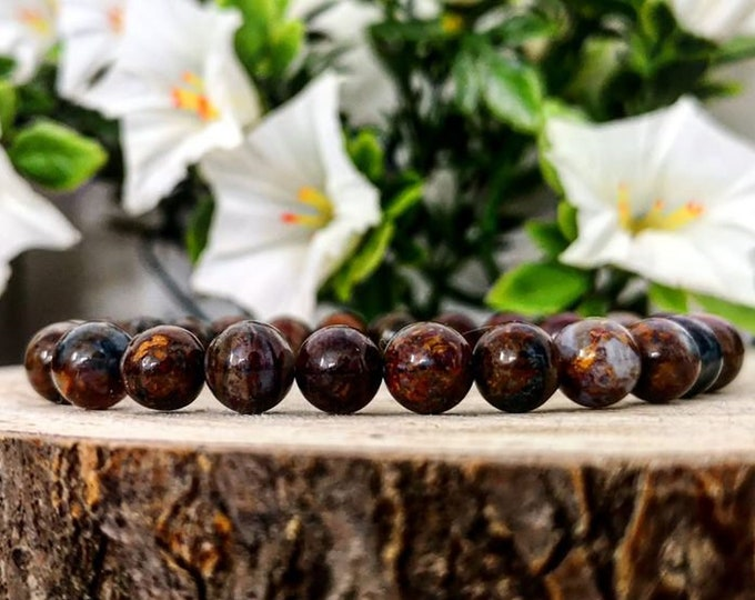 Featured listing image: Pietersite stone beads bracelet, Pietersite beads round 8mm, High graded Pietersite beaded bracelet, Gemstone bracelet, Perfect gift