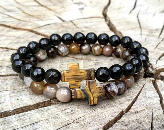 Cross bracelet, Brown cross bracelet, Black cross bracelet, Crucifix bracelet, Religion bracelet, Men's bracelet, Christian bracelet