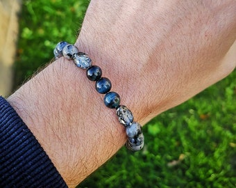 Swarovski scarab bracelet for men and women, Swarovski beaded bracelet, Gift for him and her, Stretch bracelet, Grey bracelet, Blue bracelet