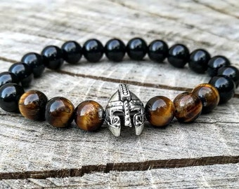 Gladiator helmet beaded bracelet, Viking bracelet, Spartan bracelet, Bracelet for men and women, Birthday gift, Bracelet for him and her