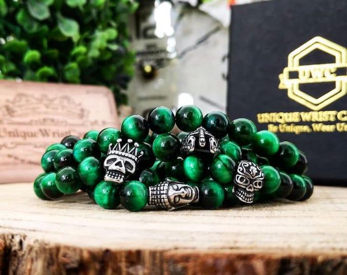 Featured listing image: Green Tiger's Eye Bracelet, Green Tigers Eye Wrist Mala, 8 mm Tigers Eye Bracelet, Tigers Eye Jewelry, Green Bead Bracelet, Green Wrist Mala