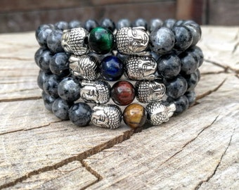 Buddha bracelet, Yoga bracelet, Healer & Spiritual bracelets, Beaded Bracelets, Mens bracelets, Women bracelets, Grey bracelet